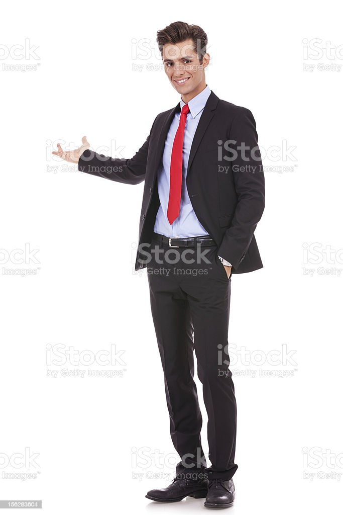 business man giving presentation royalty-free stock photo