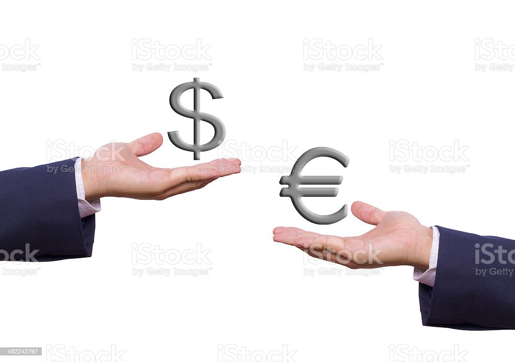 business man hand exchange dollar and euro sign royalty-free stock photo