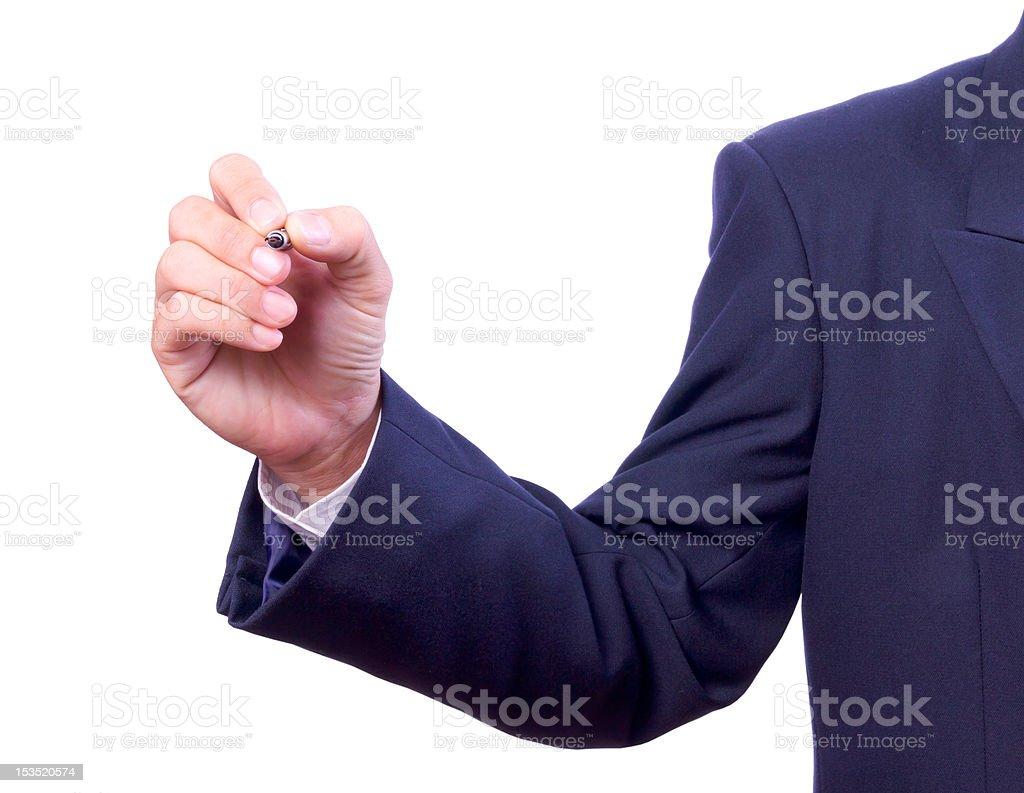 Mano di Uomo d'affari con penna isolato foto stock royalty-free