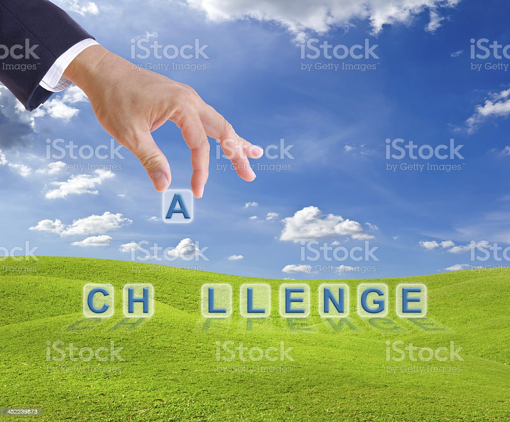 business man hand made challenge word buttons royalty-free stock photo