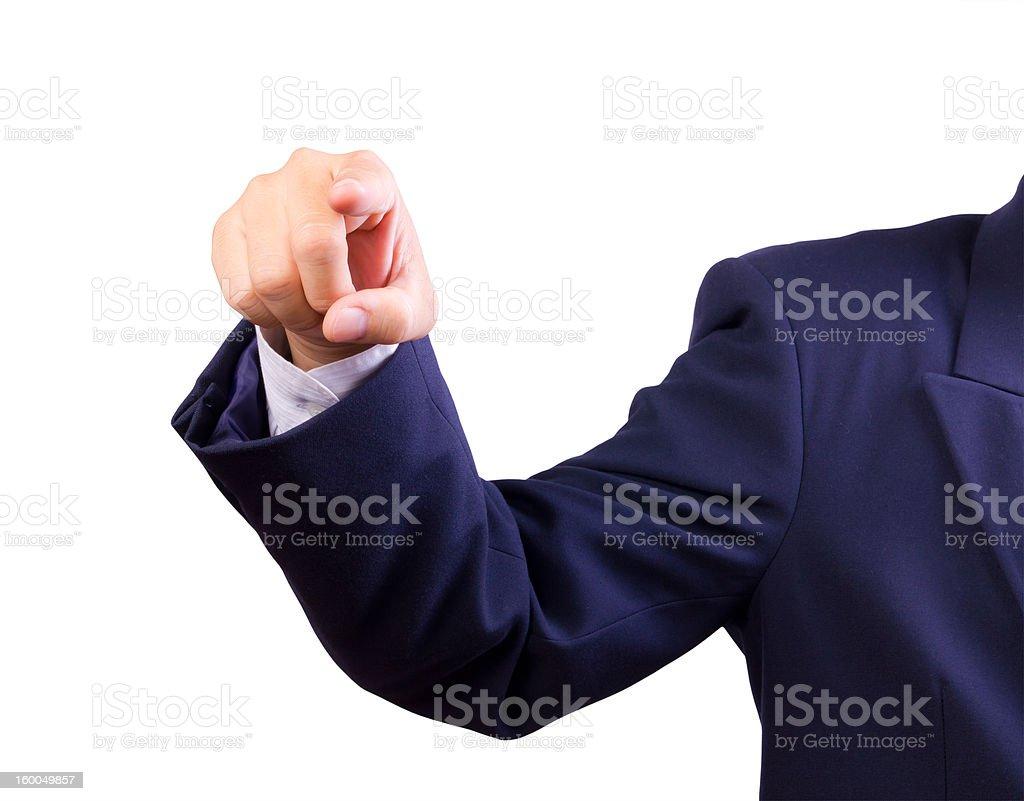 Uomo d'affari Mano che indica punti foto stock royalty-free