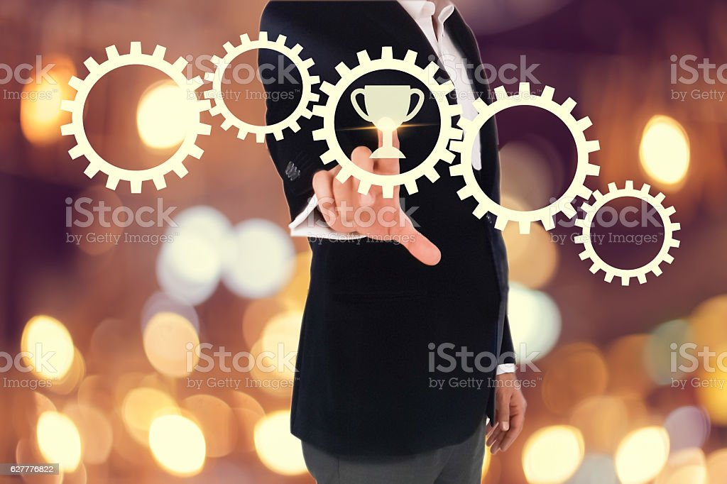 business man hand pressing a touch screen button. business concept stock photo