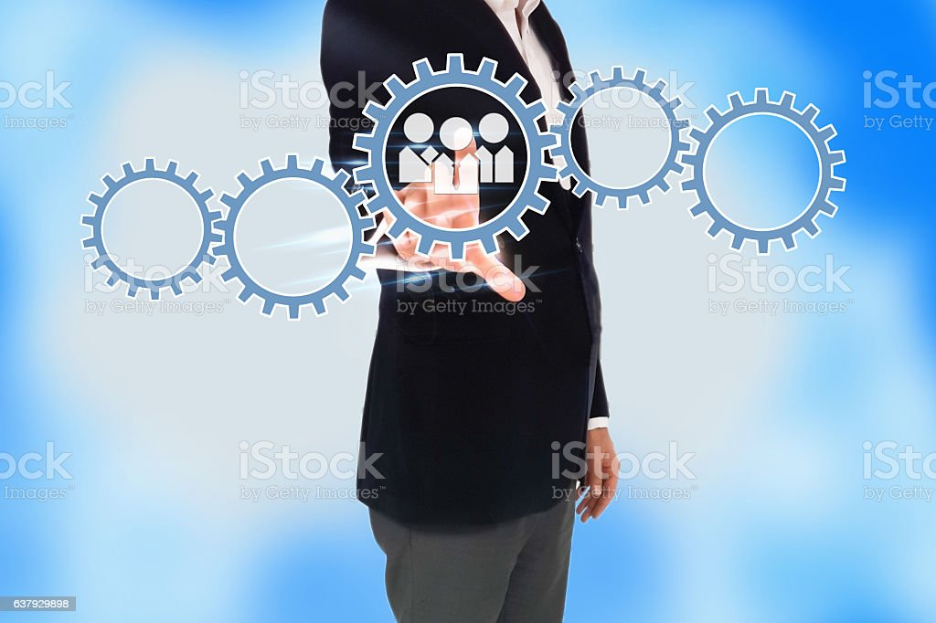 business man hand pressing a touch screen button, Business concept stock photo