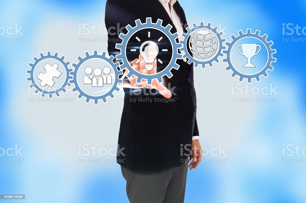 business man hand pressing a touch screen button, Creativity concept stock photo