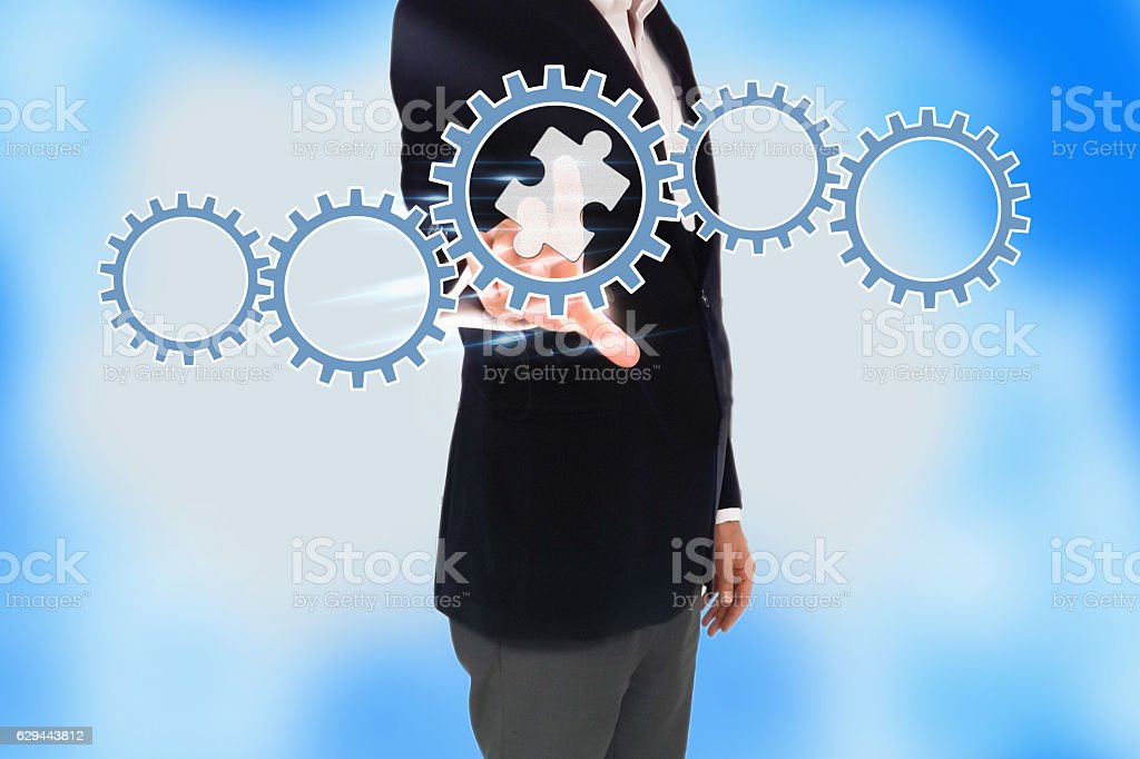 business man hand pressing a touch screen button stock photo