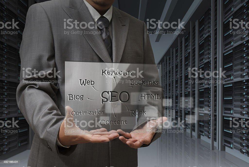 business man hand shows virtual screen of SEO diagram royalty-free stock photo