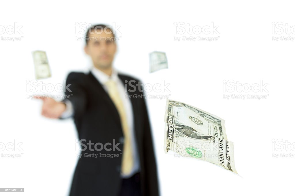 Business man handing a money one dollar royalty-free stock photo