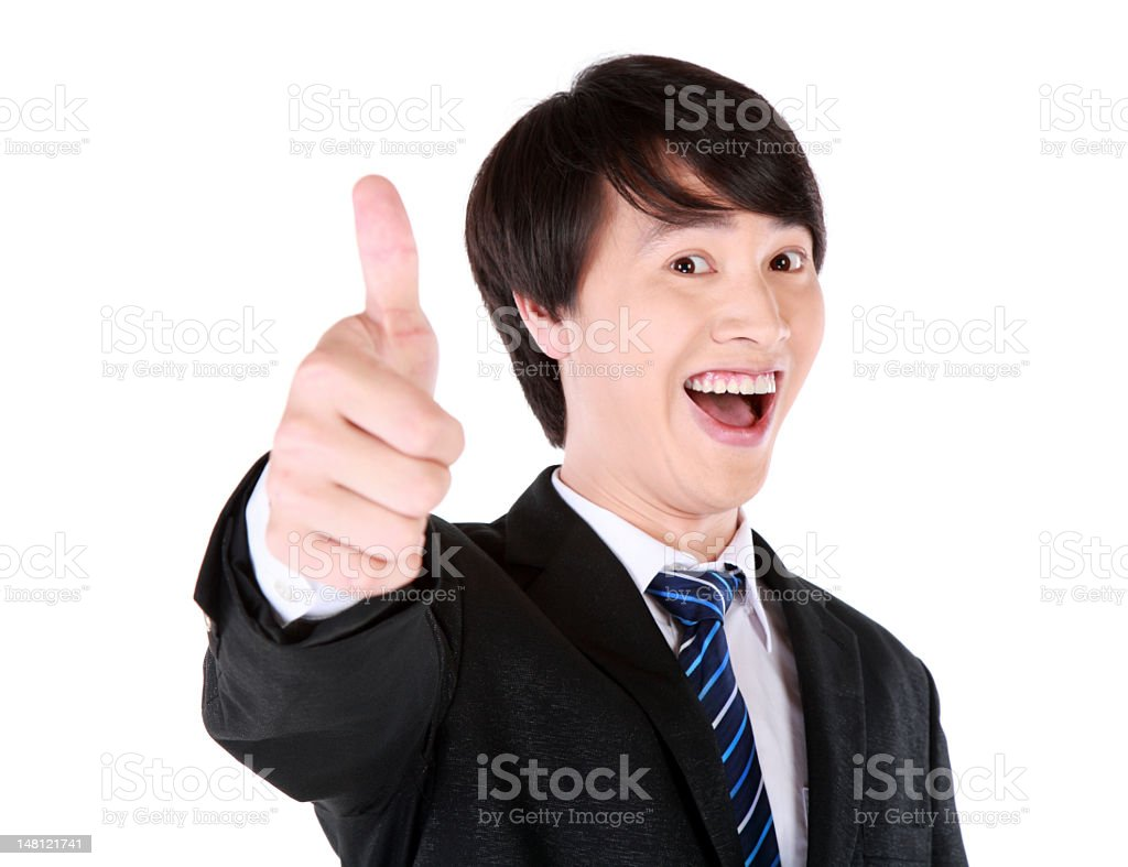 Business man hands thumbs up royalty-free stock photo