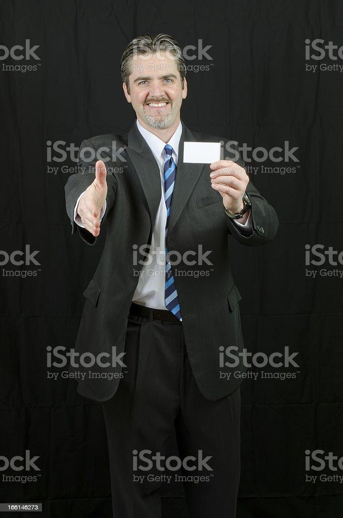 Business Man Handshake Credit Card royalty-free stock photo
