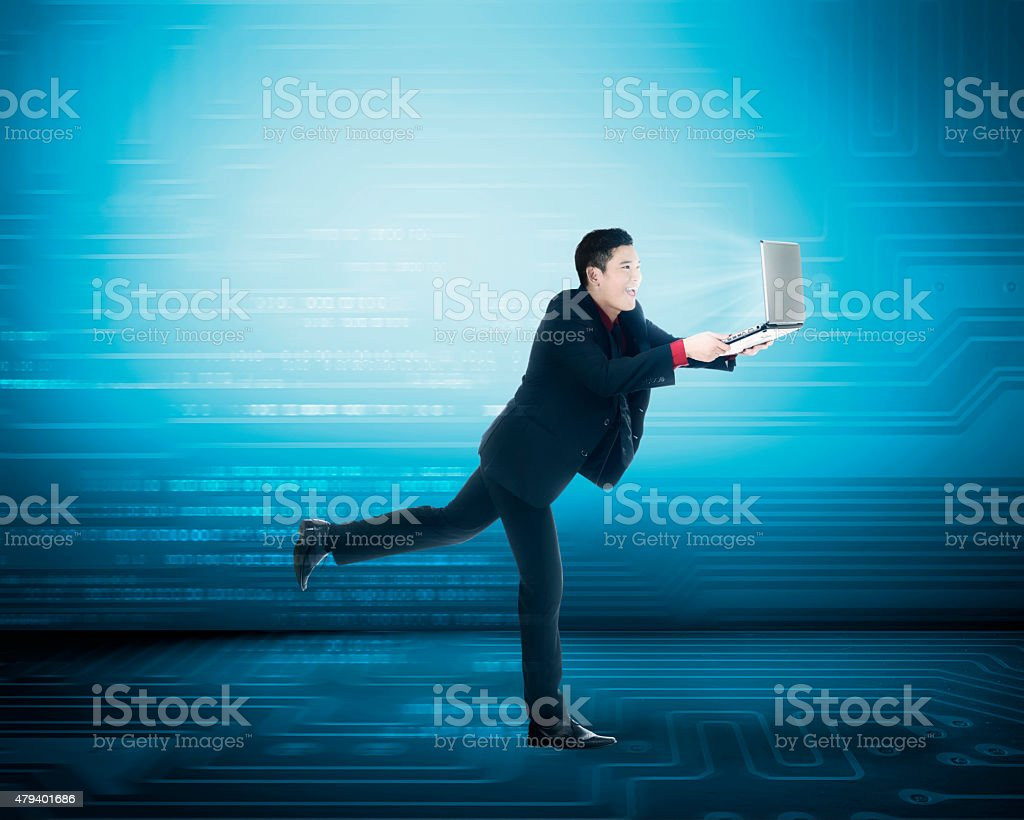Business man have fast internet access stock photo