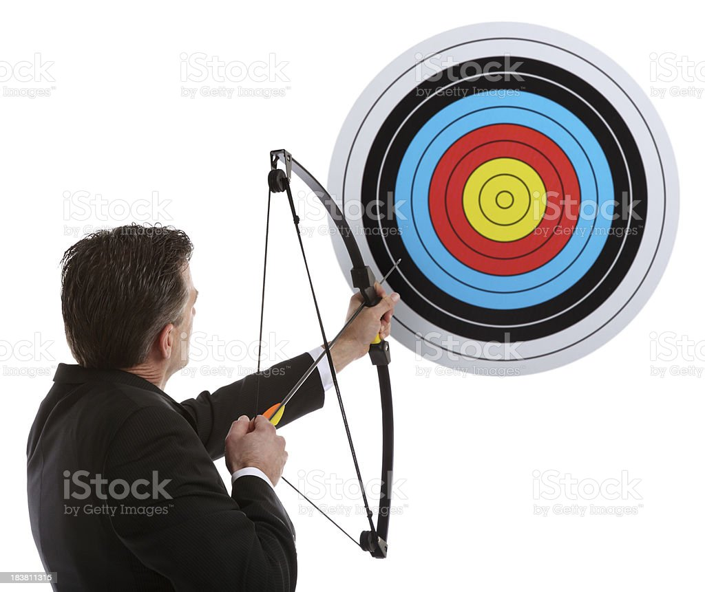 Business Man Hitting the Target stock photo