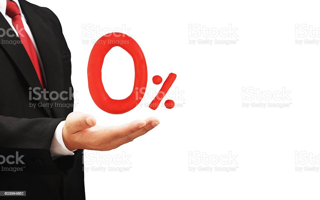 business man hold zero percent stock photo