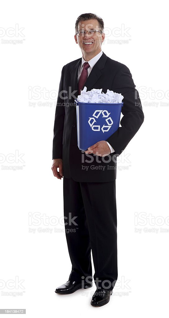 Business Man Holding a Blue Recycle Trash stock photo