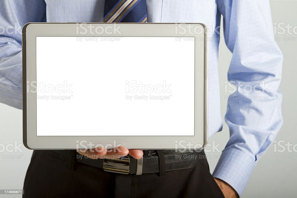 Business man holding a digital tablet with copy space royalty-free stock photo