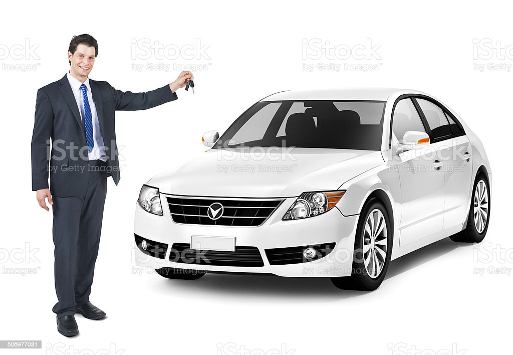 Business Man Holding a Key of the White Car stock photo