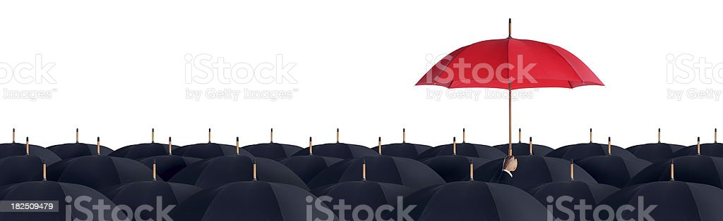Business Man Holding a Red Umbrella stock photo