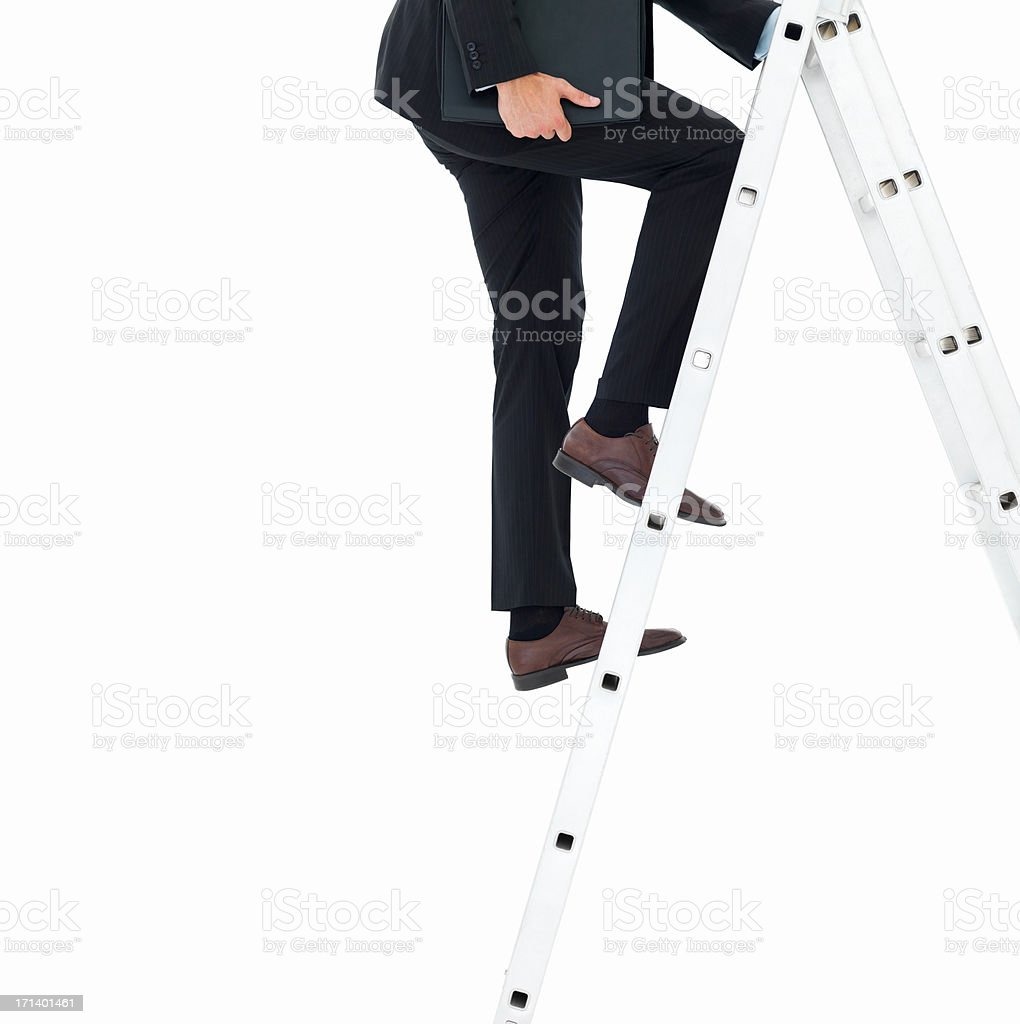 Business man holding and walking up the ladder isolated on white royalty-free stock photo