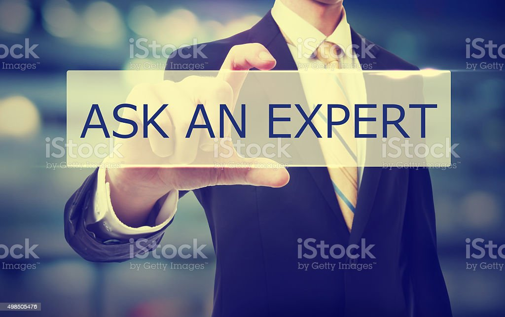 Business man holding Ask An Expert stock photo