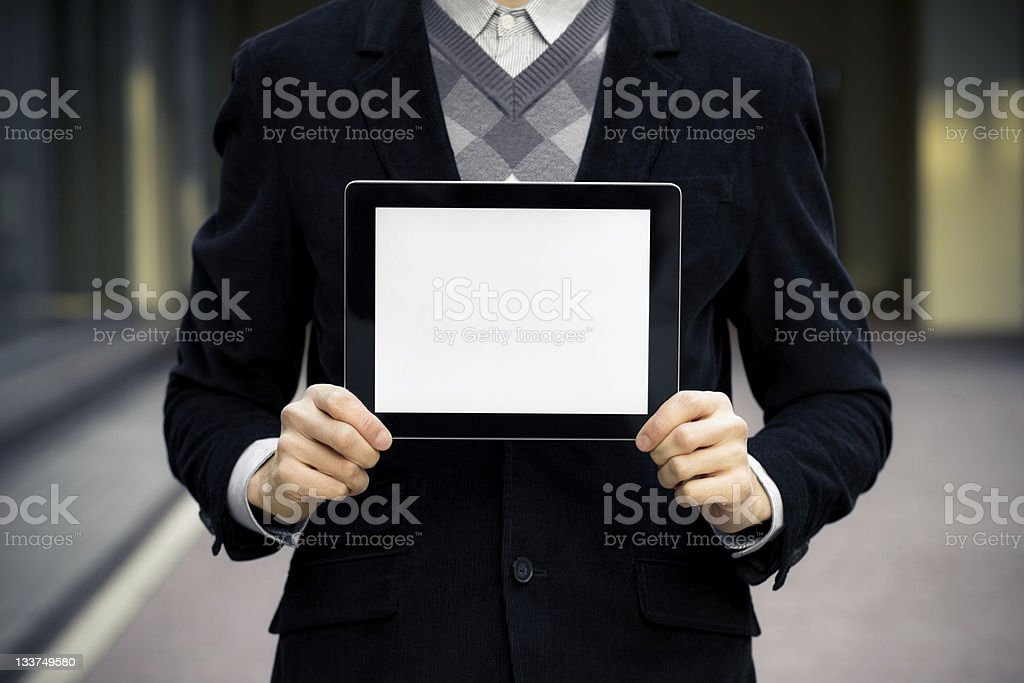 Business Man Holding Blank Digital Tablet royalty-free stock photo