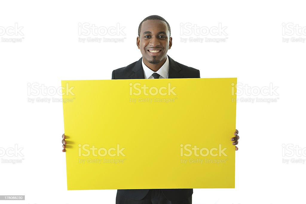 Business Man Holding Board royalty-free stock photo