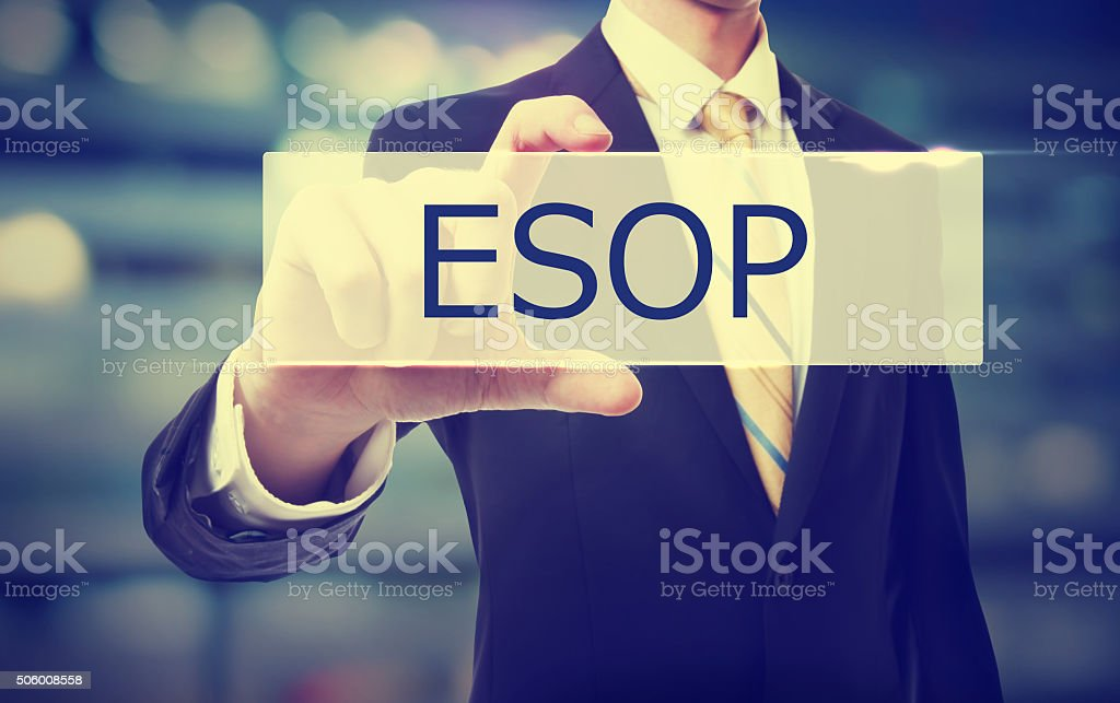 Business man holding ESOP stock photo