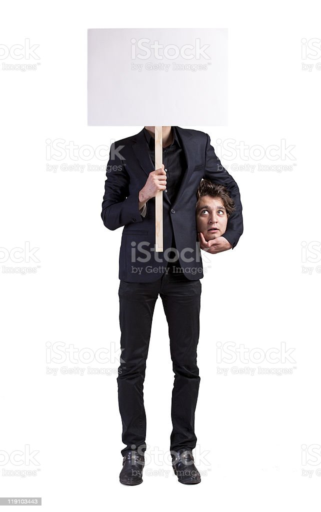 Business man holding his head stock photo