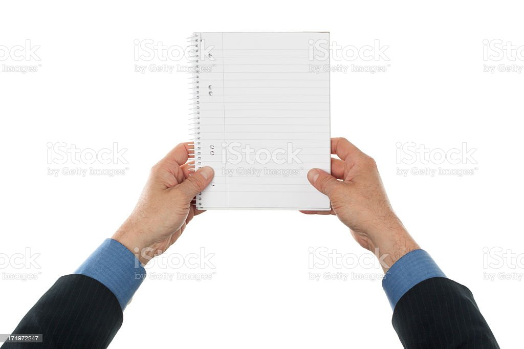 Business man holding ring notebook royalty-free stock photo
