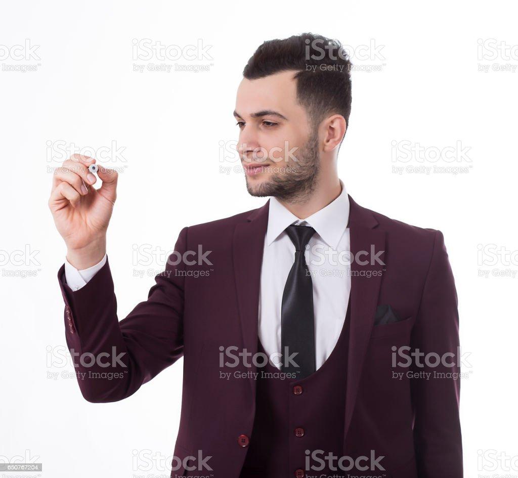 Business man holding stock, blue, pen, writing stock photo