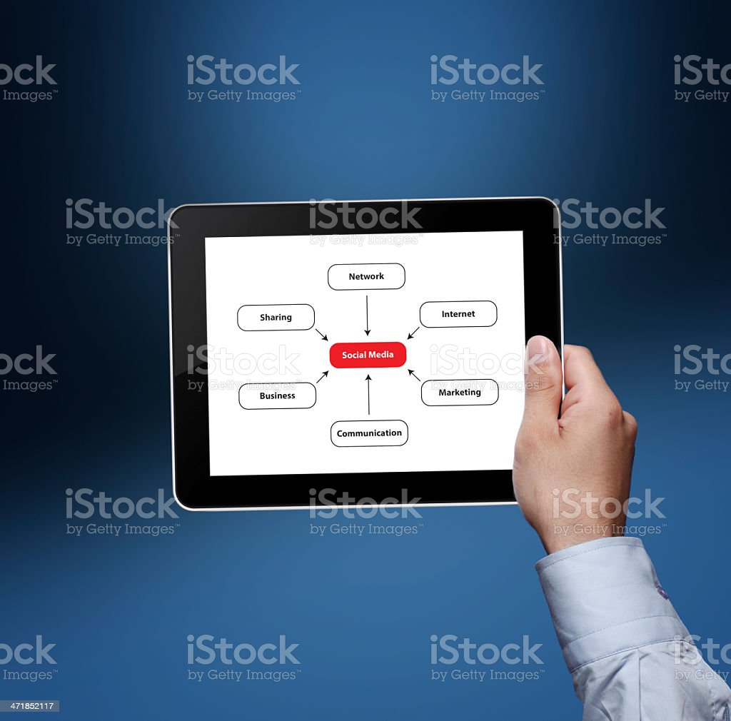 business man holding tablet royalty-free stock photo