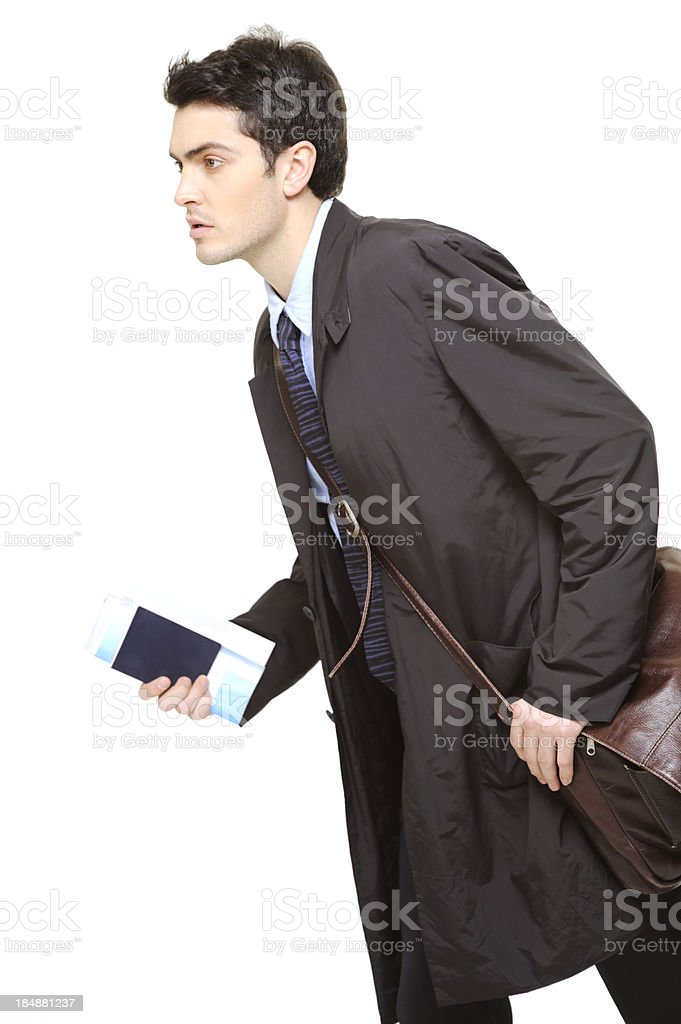 Business man in a hurry stock photo