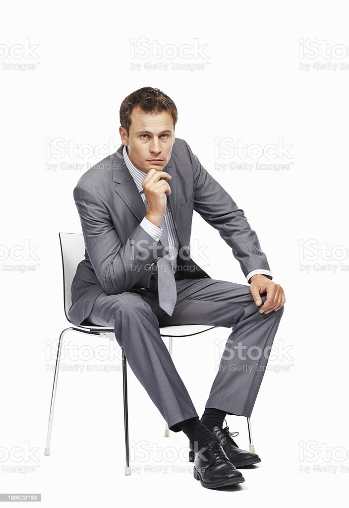 Business man in a pensive mood royalty-free stock photo