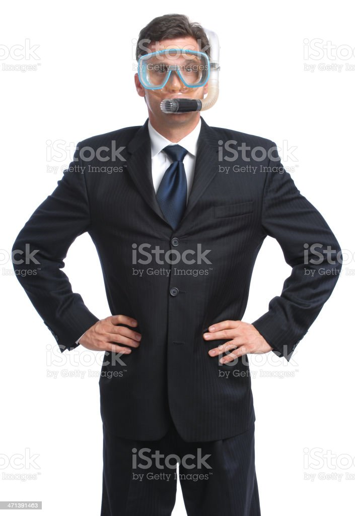 Business Man in Diving Mask Snorkel Hands on Hips White stock photo