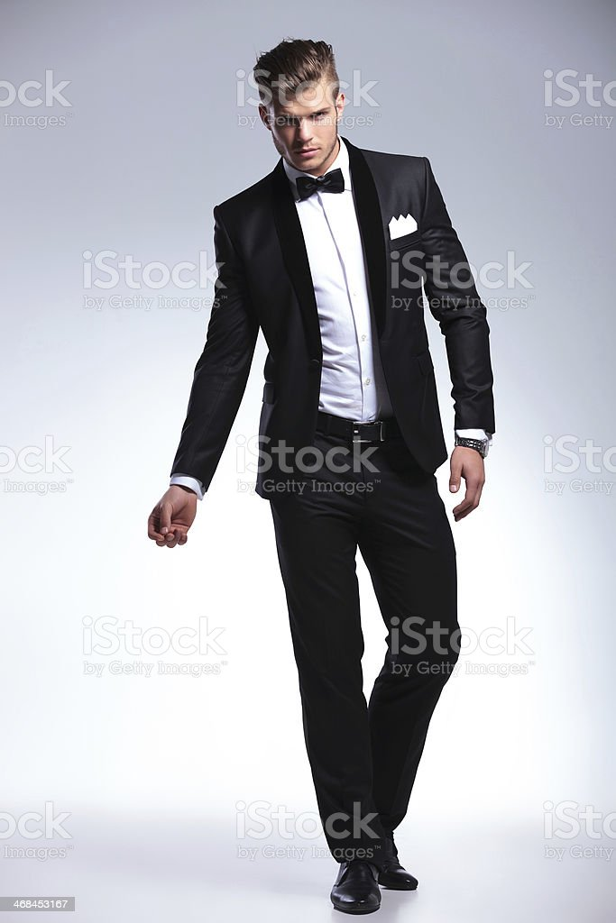 business man in fashion tuxedo stock photo