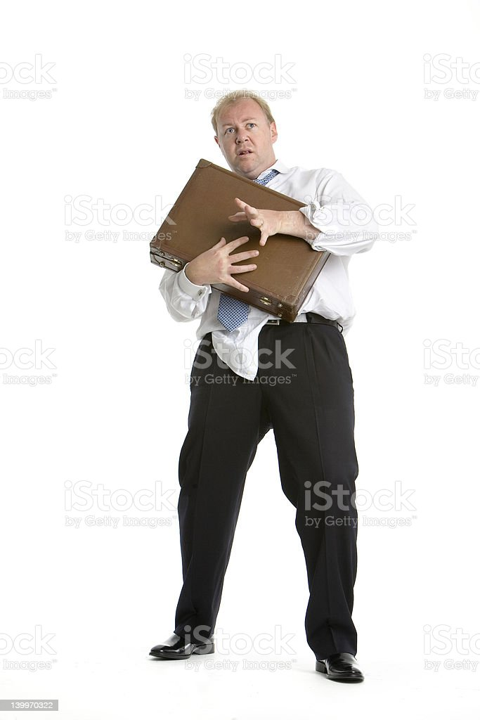 Business man in fear stock photo