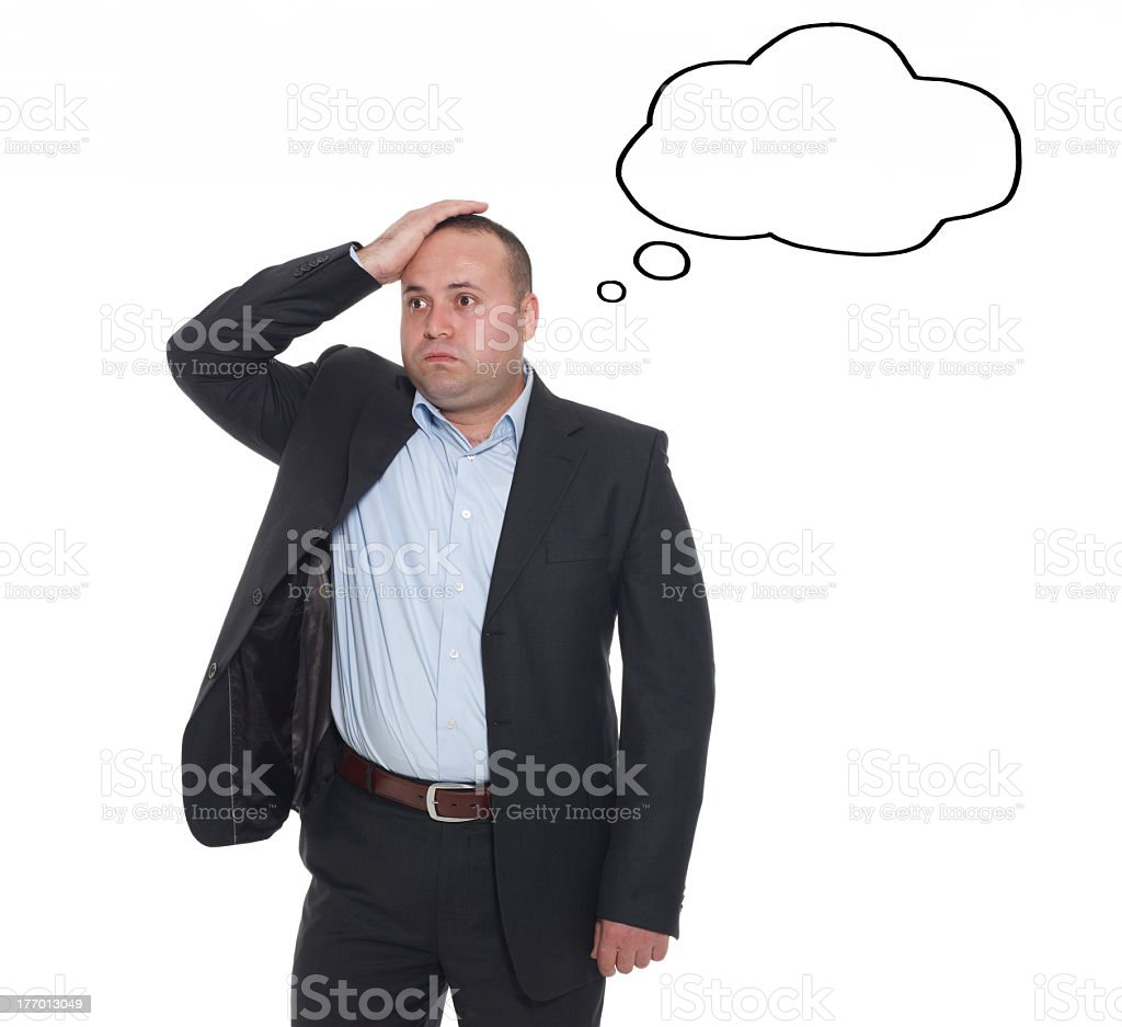 Business Man In Stress Empty Thought Bubble stock photo
