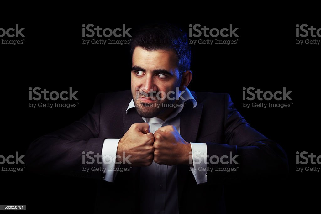 Business man in suit being angry stock photo