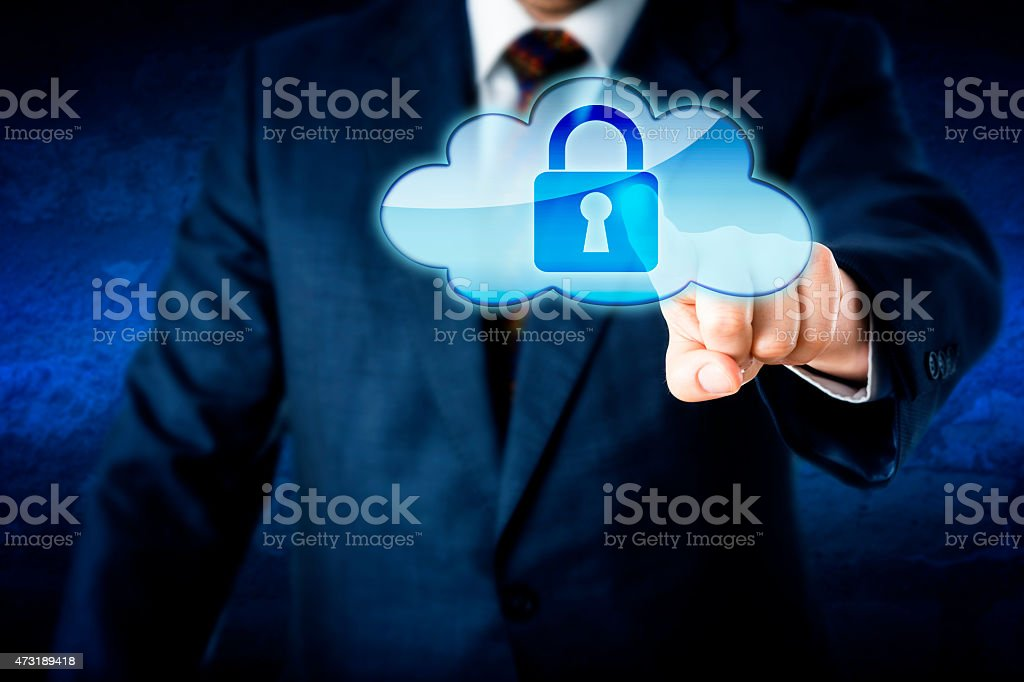 Business Man In Suit Touching Locked Cloud Icon stock photo