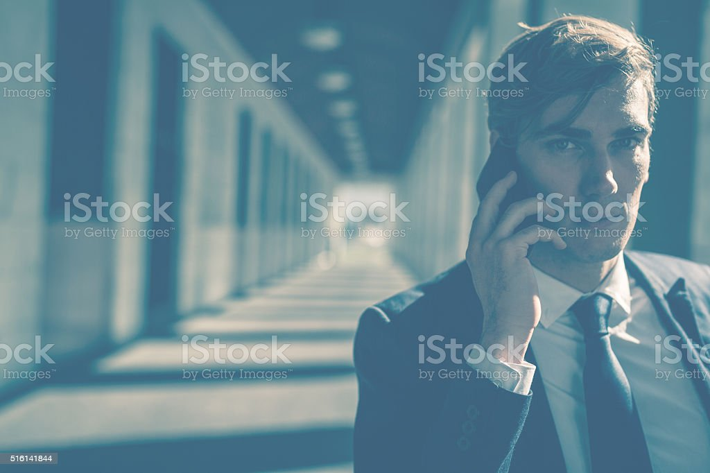 Business man in the downtown district of Rome stock photo