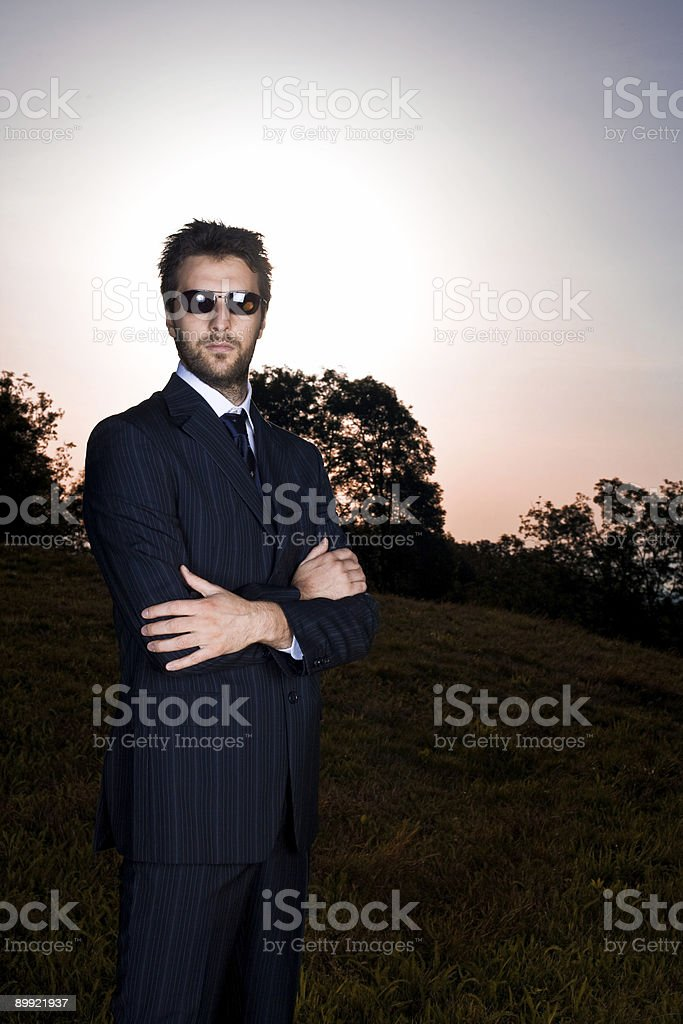 business man in the field stock photo