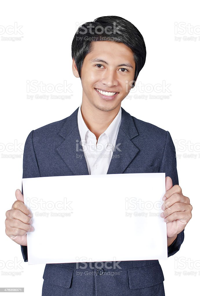 Business man is holding a banner royalty-free stock photo