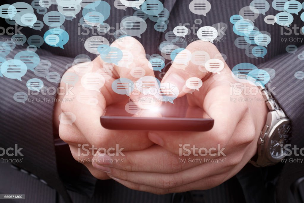 Business man is in correspondence. stock photo