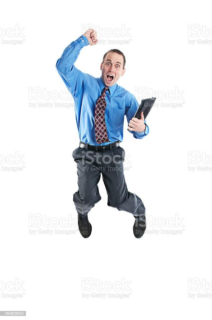 Business man jumping for joy royalty-free stock photo