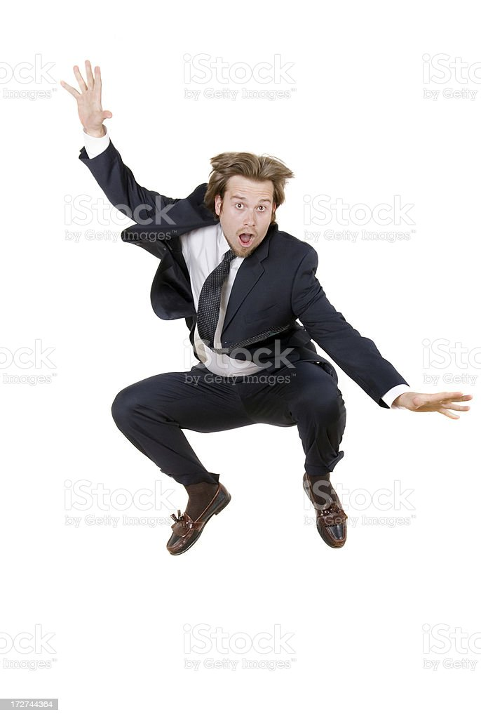 Business Man Jumps in Air royalty-free stock photo