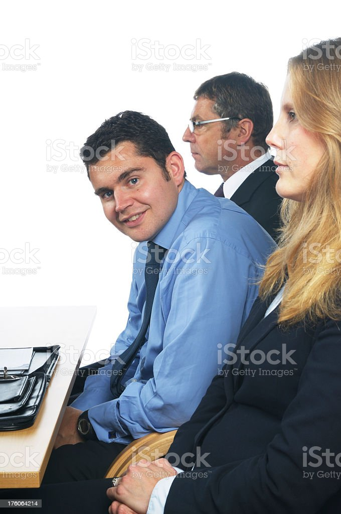 Business Man Leans Forward stock photo
