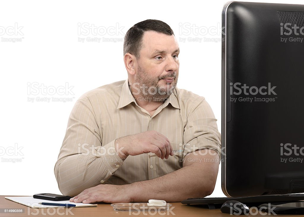 Business man learns how to give an intramuscular injection stock photo