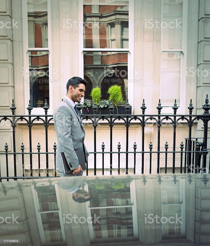 Business Man, London Building Facade stock photo