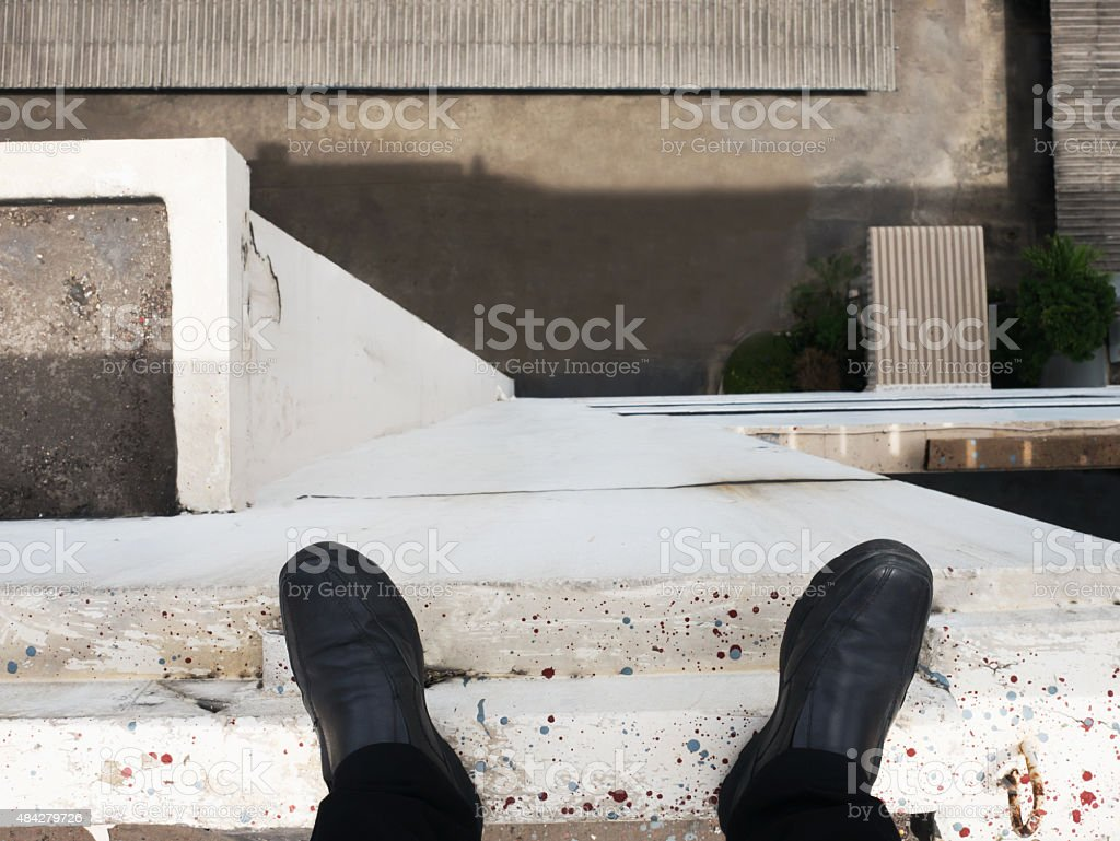 Business man look down to below. royalty-free stock photo