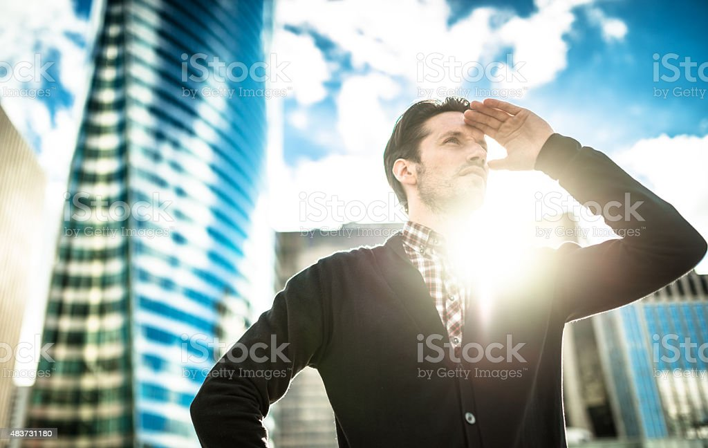 business man looking forward stock photo