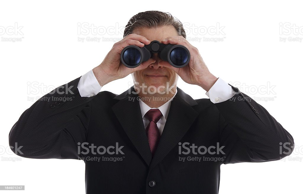 Business Man looking through Binoculars royalty-free stock photo
