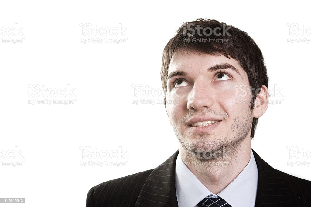 Business man looking up for inspiration royalty-free stock photo